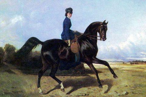 Езда на коне верхом женщины раздвинув ножки.